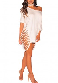 White Asymmetric Shoulder Cut Out Ripped Destroyed Clubwear Cocktail Party Mini Dress