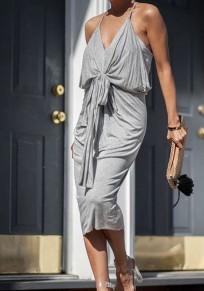 Grey Condole Belt Cross Back V-neck Casual Midi Dress