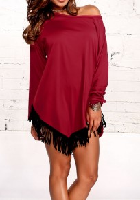 Wine Red Patchwork Tassel Round Neck Casual Mini Dress