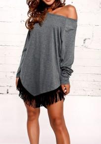 Dark Grey Patchwork Tassel Round Neck Casual Mini Dress
