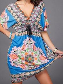 Mini vestido estampado tribal cordón v-cuello bohemio azul