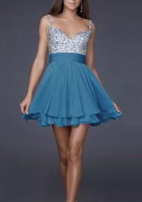 Mini vestido lentejuelas plisadas correa de espagueti v-cuello fiesta azul