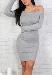 Grey Cut Out Boat Neck Long Sleeve Mini Dress