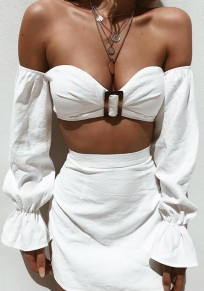 White Buttons Off Shoulder Bandeau Bell Sleeve High Waisted Two Piece Homecoming Party Mini Dress