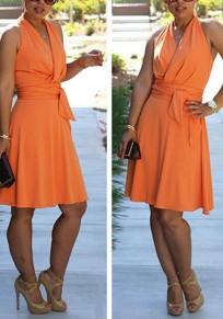 Orange Draped Sashes Ruched High Waisted V-neck Sweet Graduated Homecoming Party Midi Dress