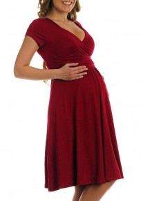 Burgundy Draped V-neck Short Sleeve Elegant Party Maternity Photoshoot Midi Dress