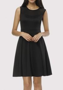 Black Patchwork Grenadine Draped Office Worker/Daily Elegant Party Mini Dress