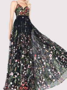 Black Floral Grenadine Embroidery Draped Spaghetti Strap Backless Sheer Elegant Party Maxi Dress
