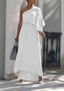 White Asymmetric Shoulder Ruffle Irregular High Waisted Flowy Elegant Graduation Party Maxi Dress