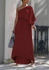 Burgundy Asymmetric Shoulder Ruffle Irregular High Waisted Flowy Elegant Graduation Party Maxi Dress