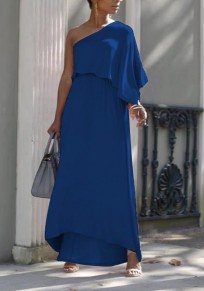 Blue Asymmetric Shoulder Ruffle Irregular High Waisted Flowy Elegant Graduation Party Maxi Dress