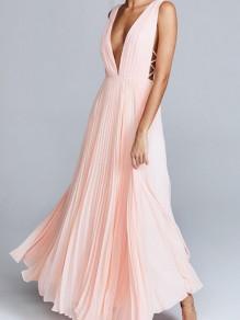 Robe maxi longue en mousseline décolleté dos nu v-cou sans manches élégant de soirée rose