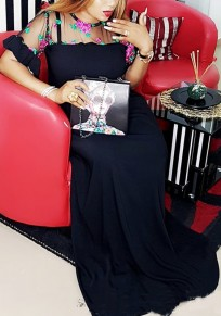 Black Grenadine Ruffle Embroidery Draped Mexican Elegant Party Maxi Dress