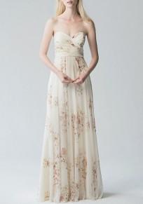 Vestido largo floral bandead adina plisada escote en V blanco