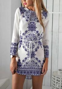 White Porcelain Print Sashes Round Neck Elegant Party Mini Dress