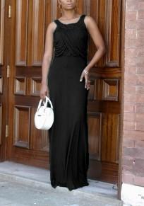 Robe maxi bandoulière croisée taille haute froncée élégante remise des diplômes noir