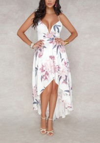 White Floral Condole Belt Irregular Tie Back Fashion Midi Dress