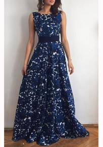 Blue Floral Bow Draped Sashes Backless Bohemian Party Maxi Dress