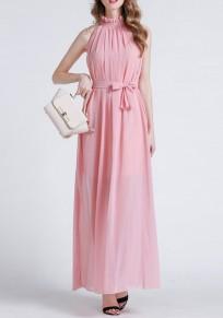 Vestido largo fajas drapeadas con encaje fiesta bohemia gasa rosa