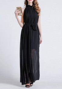Vestido largo fajas drapeadas con gasa de fiesta bohemia negro