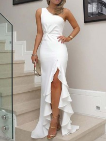White Ruffle Irregular Asymmetric Shoulder Side Slit Ruched Elegant Graduation Party Maxi Dress