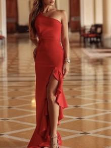 Vestido largo volante irregulares asimétrica lado del hombro fruncido elegante fiesta de graduación rojo