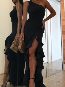 Black Ruffle Irregular Asymmetric Shoulder Side Slit Ruched Elegant Graduation Party Maxi Dress