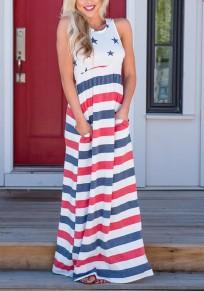 Weiße American Flag Drucken Drapierte Taschen hoch taillierte Independence Day Beiläufig Maxi-Kleid