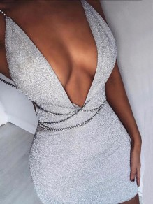 Silver Sequin Deep V-neck Spaghetti Strap Backless Sparkly Homecoming Clubwear Party Mini Dress