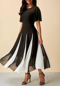 Black-White Patchwork Buttons Round Neck Fashion Midi Dress