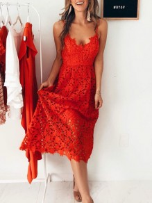 Red Floral Lace Cut Out Spaghetti Strap Deep V-neck Bohemian Beach Party Midi Dress