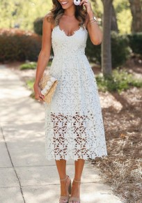 White Floral Lace Cut Out Spaghetti Strap V-neck Bohemian Elegant Party Midi Dress