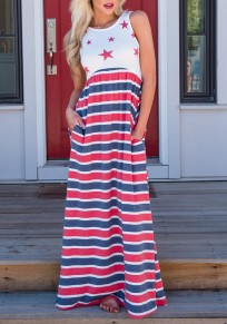 White American Flag Print Draped Pockets High Waisted Independence Day Casual Maxi Dress