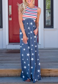 Blue American Flag Print Draped Pockets High Waisted Independence Day Casual Maxi Dress