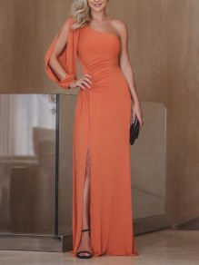 Orange Pleated Cut Out Asymmetric Shoulder Side Slit Banquet Elegant Party Maxi Dress