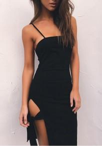 Black Condole Belt Cut Out Ribbons Mini Dress