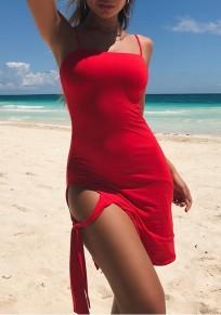 Rot Condole Gürtel ausgeschnittene Bänder Minikleid