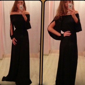 Black Cut Out Boat Neck Long Sleeve Party Maxi Dress