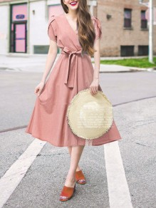 Pink Sashes Zipper V-neck Honey Girl Midi Dress