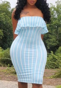 Light Blue Striped Print Ruffle Bandeau Off Shoulder Bodycon Sweet Going out Party Mini Dress