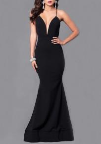 Black Cross Back Spaghetti Strap Backless Deep V-neck Elegant Maxi Dress
