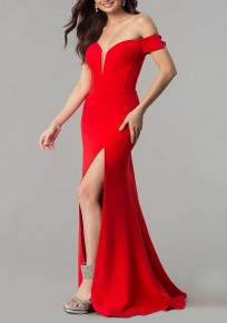Red Cut Out Side Slit Off Shoulder Backless Deep V-neck Elegant Maxi Dress