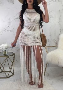 White Tassel Cut Out Bodycon Bikini Smock Bohemian Beach Mini Dress