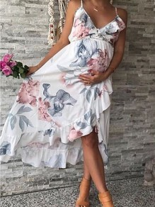 White Floral Ruffle Spaghetti Strap High-low baby shower Going out Midi Summer Pregnancy Maternity Dress