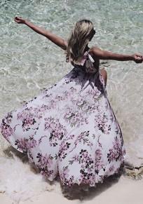 Weiß Blumendruck Plissee tiefem V-Ausschnitt Rückenfrei Flowy böhmischen Strand Partei Maxi-Kleid