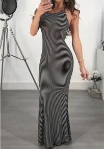 Black-White Striped Print Draped Backless Cross Back Mermaid Elegant Party Maxi Dress