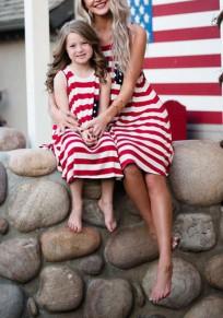 Rote amerikanische Flagge Drucken Quaste Taschen Mama und mir Unabhängigkeitstag Midi Kleid