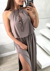 Coffee Hanging neck Round Neck Fashion Maxi Dress