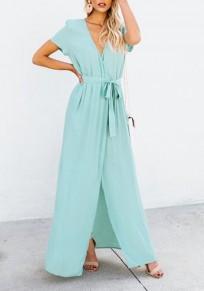 Sky Blue Sashes Draped Side Slit V-neck Office Worker/Daily Maxi Dress