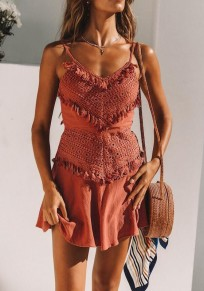 Brown Lace Tassel Pleated Spaghetti Strap Bodycon Bohemian Cute Party Mini Dress